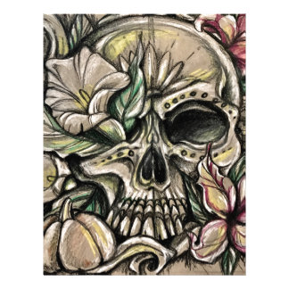 Sugar skull and lilies letterhead