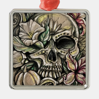 Sugar skull and lilies metal ornament