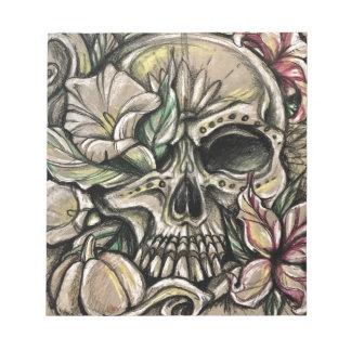 Sugar skull and lilies notepad