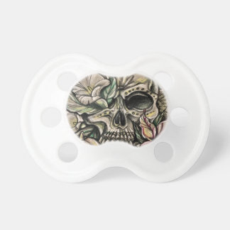Sugar skull and lilies pacifier