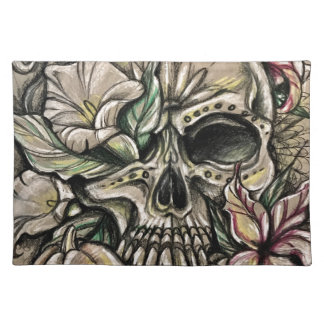 Sugar skull and lilies placemat