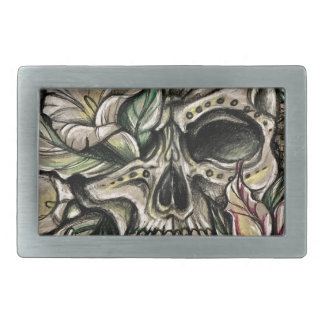 Sugar skull and lilies rectangular belt buckle