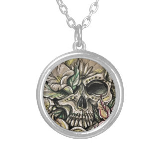 Sugar skull and lilies silver plated necklace