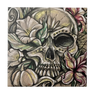 Sugar skull and lilies tile