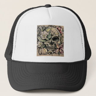 Sugar skull and lilies trucker hat
