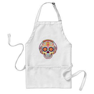 Sugar Skull Apron - Sugar Skull Wearing Headphones