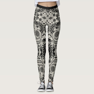 Sugar Skull Aztec Art Black and Cream Leggings