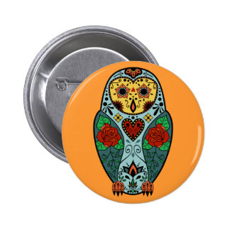 Sugar Skull Barn Owl 2 Inch Round Button