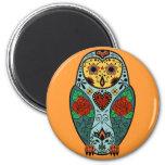 Sugar Skull Barn Owl 2 Inch Round Magnet