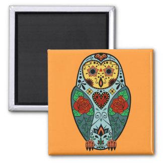Sugar Skull Barn Owl Square Magnet