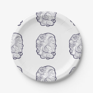 Sugar Skull Beauty Madonna 7 Inch Paper Plate