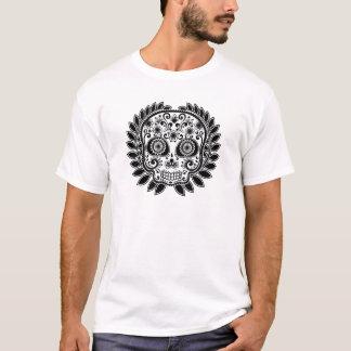 Sugar Skull Black and White Laurel Leaf T-Shirt