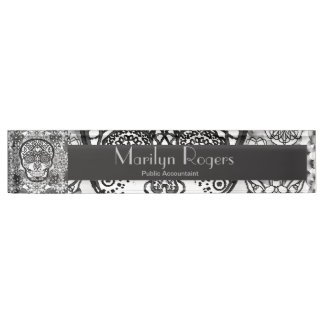Sugar Skull Black and White Name Plate