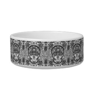 Sugar Skull Black and White Pet Bowl