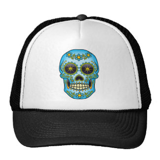 Sugar Skull - Blue Floral Trucker Hat