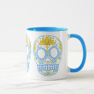 Sugar Skull (Blue/Yellow) Mug