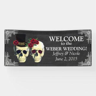 Sugar Skull Bride and Groom Wedding Banner