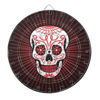 sugar skull burst black dartboard with darts