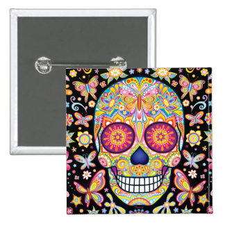 Sugar Skull Button - Day of the Dead Skull Pin