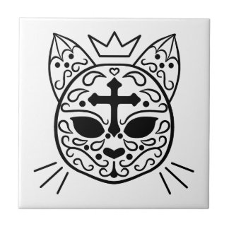 Sugar skull cat adorable tile