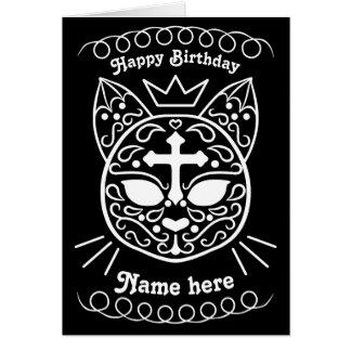 Sugar skull cat birthday card