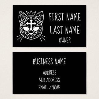 Sugar skull cat business card