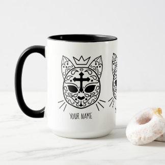 Sugar skull cat mug