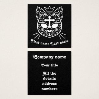 Sugar skull cat square business card
