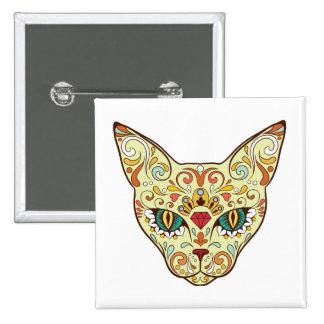 Sugar Skull Cat - Tattoo Design 2 Inch Square Button