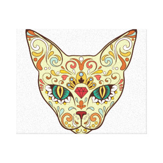 Sugar Skull Cat - Tattoo Design Canvas Print