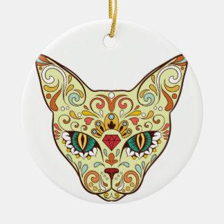 Sugar Skull Cat - Tattoo Design Ceramic Ornament