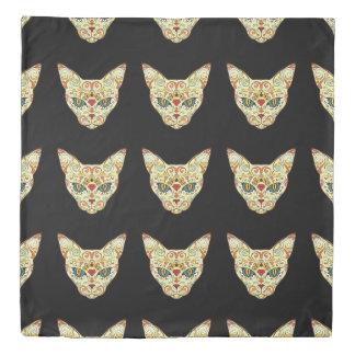 Sugar Skull Cat - Tattoo Design Duvet Cover