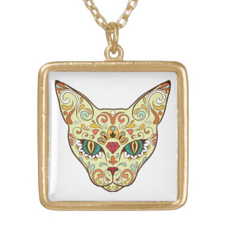 Sugar Skull Cat - Tattoo Design Gold Plated Necklace