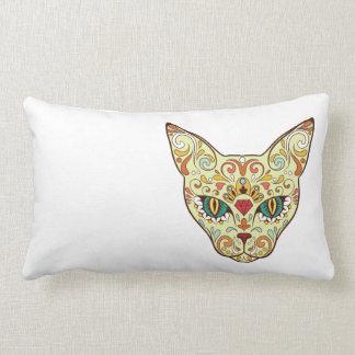 Sugar Skull Cat - Tattoo Design Lumbar Pillow