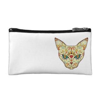 Sugar Skull Cat - Tattoo Design Makeup Bags