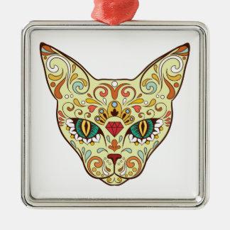 Sugar Skull Cat - Tattoo Design Metal Ornament