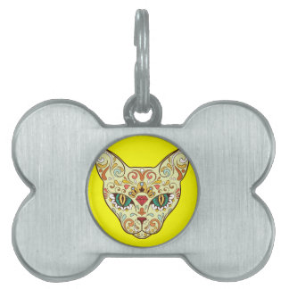 Sugar Skull Cat - Tattoo Design Pet ID Tag