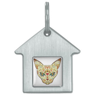 Sugar Skull Cat - Tattoo Design Pet Name Tag