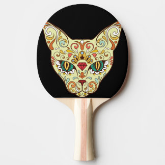 Sugar Skull Cat - Tattoo Design Ping Pong Paddle