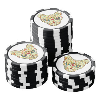 Sugar Skull Cat - Tattoo Design Poker Chips