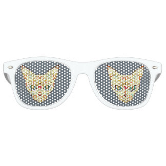 Sugar Skull Cat - Tattoo Design Retro Sunglasses