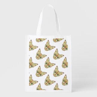 Sugar Skull Cat - Tattoo Design Reusable Grocery Bag