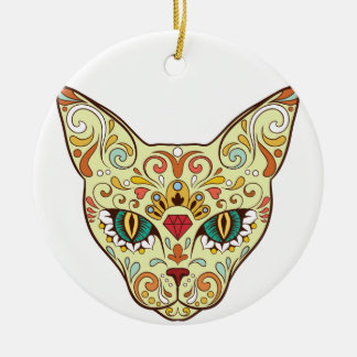 Sugar Skull Cat - Tattoo Design Round Ceramic Ornament