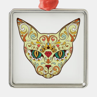 Sugar Skull Cat - Tattoo Design Silver-Colored Square Ornament