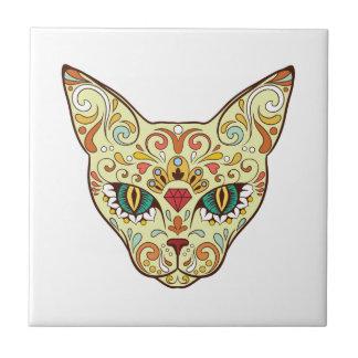Sugar Skull Cat - Tattoo Design Tile