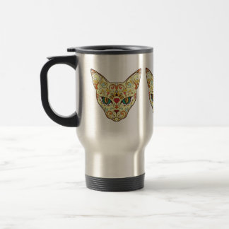 Sugar Skull Cat - Tattoo Design Travel Mug
