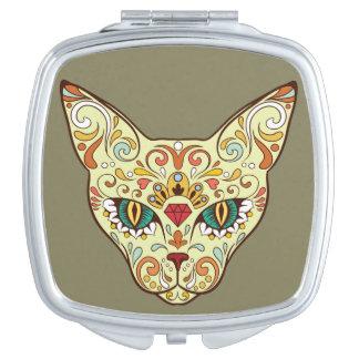 Sugar Skull Cat - Tattoo Design Vanity Mirror