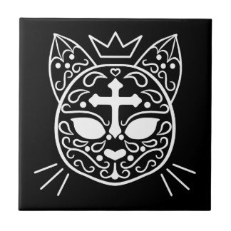 Sugar skull cat tile