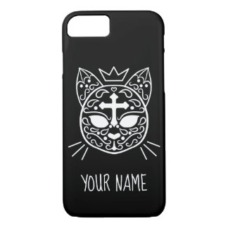 Sugar skull cat with your name Case-Mate iPhone case
