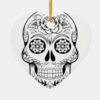 Sugar Skull Ceramic Heart Ornament